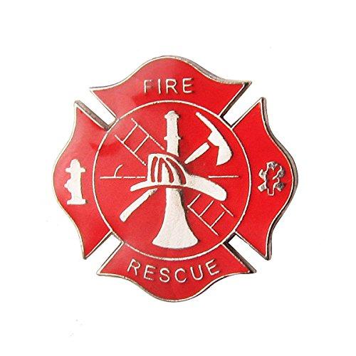 Fire Department Pin - TreasureGurus LLC Fire Dept Maltese Cross Firefighter Collar Lapel Scramble Pin Tie Tack