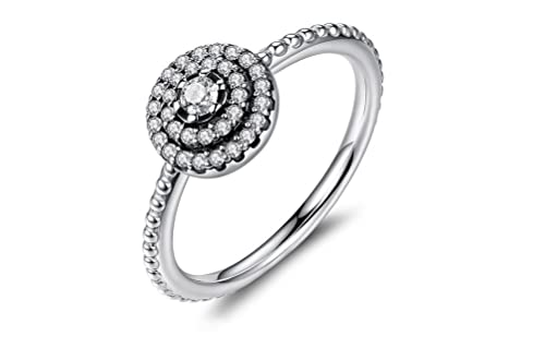 Dixey Luxury Anillos de Plata 925-Sterling-Silver-Round-Shape-Radiant