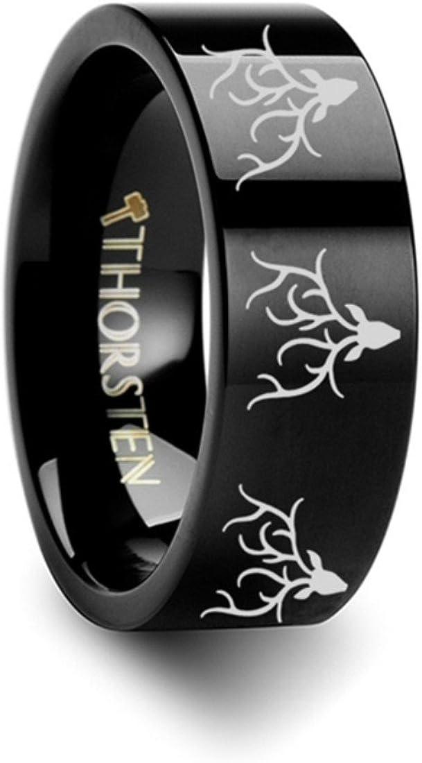Thorsten Deer STAG Antlers Animal Reindeer Deer Stag Head Print Ring Flat Black Tungsten Ring 10mm Wide Wedding Band from Roy Rose Jewelry