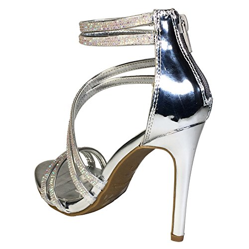 Anne Michelle Womens Asymmetrical Strappy Dress Heel Sandal Silver Patent Pu uU28HW