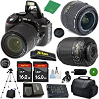 Nikon D5300 - International Version (No Warranty), 18-55mm f/3.5-5.6 DX VR, Nikon 55-200mm f4-5.6G ED DX Nikkor, 2pcs 16GB Memory, Camera Case