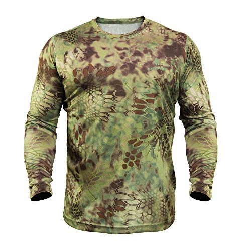 Kryptek Hyperion LS Crew - Long Sleeve Camo Hunting & Fishing Shirt (K-Ore Collection), Mandrake, - Sleeve Long Collection Crew
