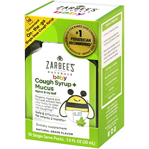 Zarbee's Naturals Baby Cough Syrup + Mucus with Organic Agave and Ivy Leaf, Natural Grape Flavor, 10 Single Serve On-the-Go Packs