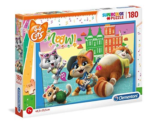 Clementoni- Puzzle 180 Piezas 44 Gatos, Multicolor (29763.4)
