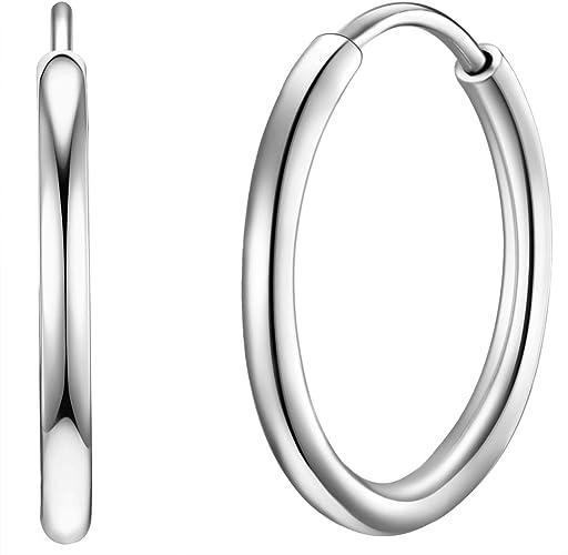 Echt 925 Silber Männer Creole Breite 4,7 mm Durchmesser 16,8 mm Abgerundet