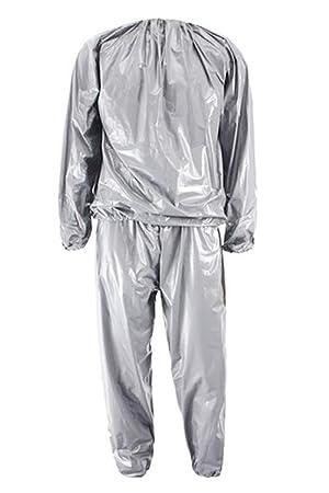 Traje de sauna - TOOGOO(R) Traje de sauna de altas prestaciones para la perdida de peso de sudor de ejercocio en gimnasio Anti-Rip Plata XL