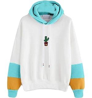WAWAYA Womens Long Sleeve Casual Color Blocked Loose Pullover Hoodie Sweatshirt Crop Top