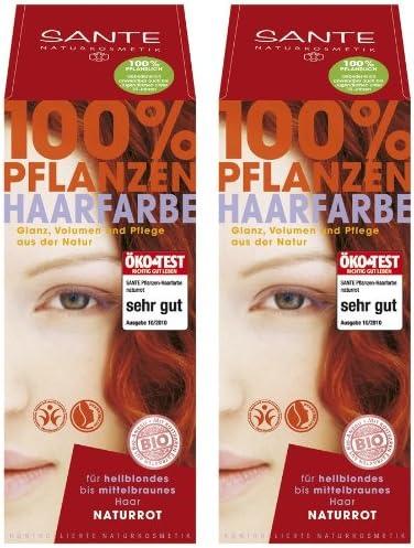 Sante Tinte de pelo vegetal en paquete doble, color rojo natural, 2 x 100 g en un juego para una gran experiencia de color.