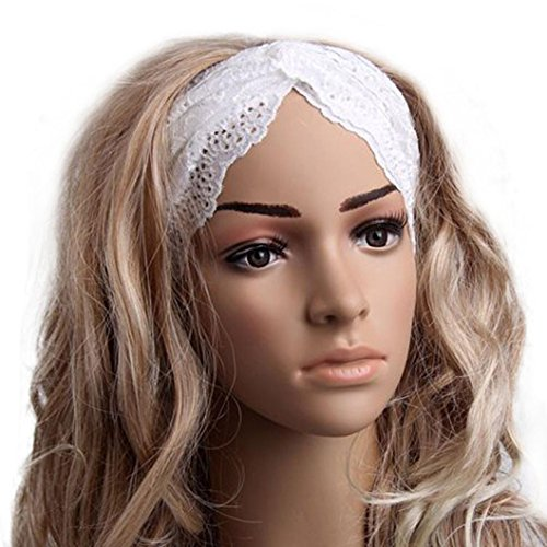 QingFan Fashion Women Headwear Twist Sport Yoga Lace Headband Turban Heir Band (White) - Heir Costumes