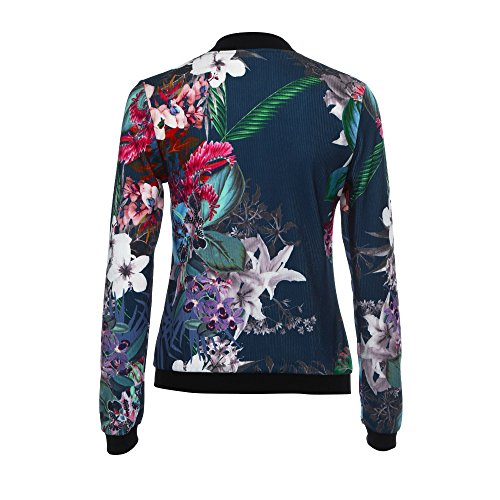 Coats Flower HARRYSTORE Plus Bomber Dark Blue Basic 2018 Jackets Print Size Jacket Casual Zipper Up Outerwear Women's wIqIHPOrf