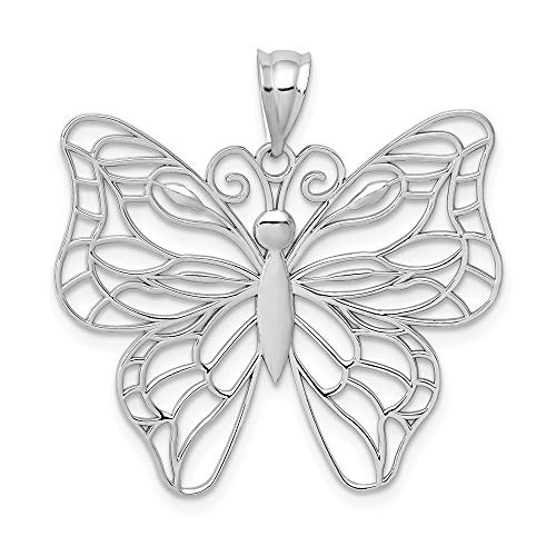 14k White Gold Butterfly Charm - 14k White Gold Large Butterfly Pendant Charm Necklace Animal Fine Jewelry Gifts For Women For Her