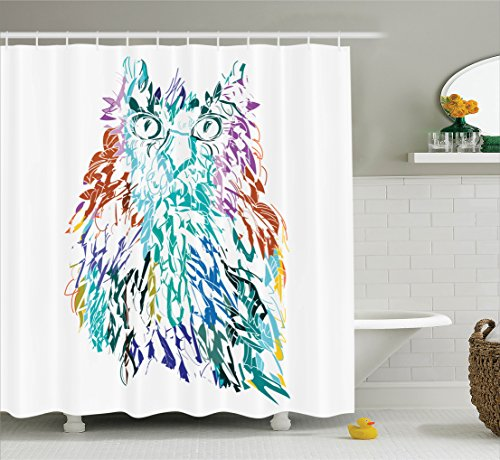 Owls Home Decor Shower Curtain Set By Ambesonne, Owl With Fluffy Swollen Colorful Feathers Large Eyes Vision Sage Camouflage Character Image, Bathroom Accessories, 69W X 70L Inches, Multi (Home Decor Camouflage)