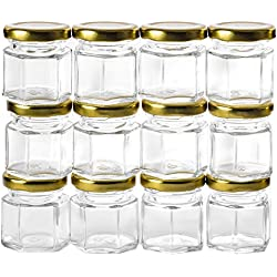 GoJars 12 pack 1.5oz Hexagon Glass Jars (12, 1.5oz)