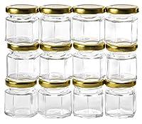 GoJars 12 pack 1.5oz Hexagon Glass Jars (12, 1.5oz)