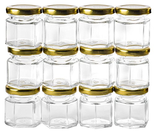 Glass Top Tins - GoJars 12 pack 1.5oz Hexagon Glass Jars (12, 1.5oz)
