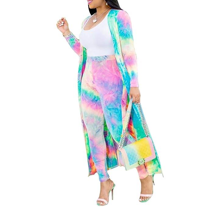 Mujer Casual Conjunto 2 Piezas Impresión Abrigo Largo y Pantalones ...