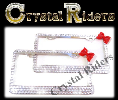 - PAIR OF 2 Bling License Plate Frame 3 ROWS RED BOW with Crystals Clear Metal Chrome Zink Alloy Holder Sparkly Sparkle Custom Hand Made Hand Crafted 2 SET TWO