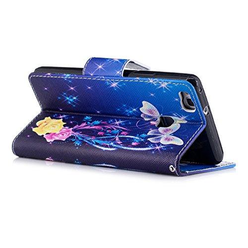 Para Huawei P9 Lite funda, (Mariposa grande) caja del teléfono de la PU patrón en pintado ,Función de Soporte Billetera con Tapa para Tarjetas soporte para teléfono Bailarina de mariposas