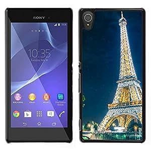 EJOY---Cubierta de la caja de protección la piel dura para el ** Sony Xperia T3 ** --Resplandeciente Torre Eiffel