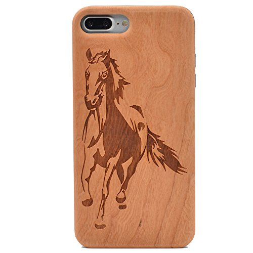 iPhone 7 Plus Wood Case Running Horse Handmade Carving Real Wood Case Wooden Case Cover with Soft TPU Back for Apple iPhone 7 Plus,iPhone 8 Plus (2017)