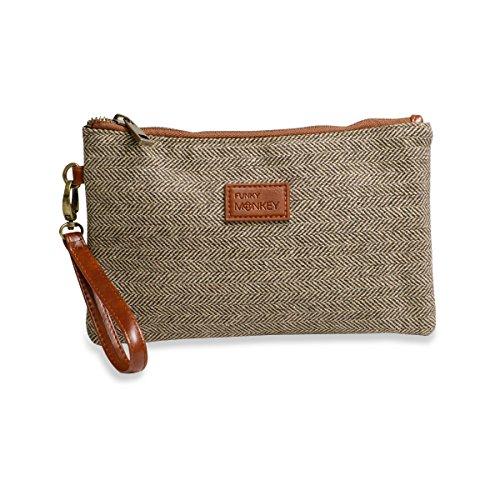- {Sophie Collection} Wristlet Wallet Clutch Bag - Phone Purse Handbag - Small, Medium, Large Size - Brown & Beige Herringbone Style - Funky Monkey Fashion (Large)