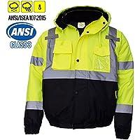 New York Hi-Viz Workwear WJ9012-L Men's ANSI Class 3 High Visibility Bomber Safety Jacket, Waterproof (Large, Lime)