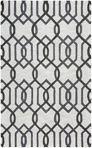 Rizzy Home Caterine Collection Wool Area Rug, 5 x 8 , Grey Gray Rust Blue Trellis