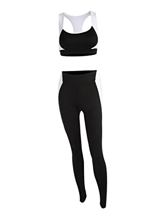 ba79d630d9d Image Unavailable. Image not available for. Color  YUEDOOD Sport Suits High  Strength Sports Bra Yoga Pants Gym Outfits Breathable Exercise Bra and  Leggings