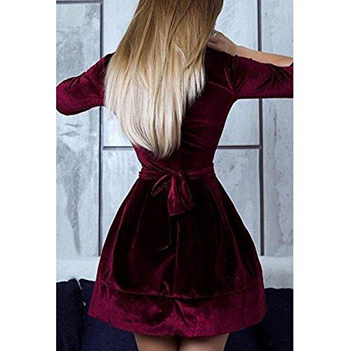 Fit Belted Vestidos manga llamarada 4 Elegantes 3 de Vino de de y Velvet rojo redondo mujeres las terciopelo cuello vestido la hibote de OwAqd4xOZ