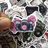 Navy Peony Vintage Camera Stickers and Decals