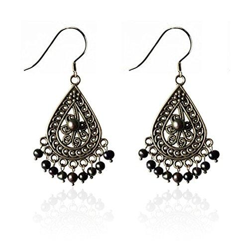 Lureme Vintage Cream Freshwater Pearl Silver Tone Chandelier Drop Earrings for Women 02001462-black