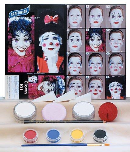 Clown trousse de maquillage blanc One-Size