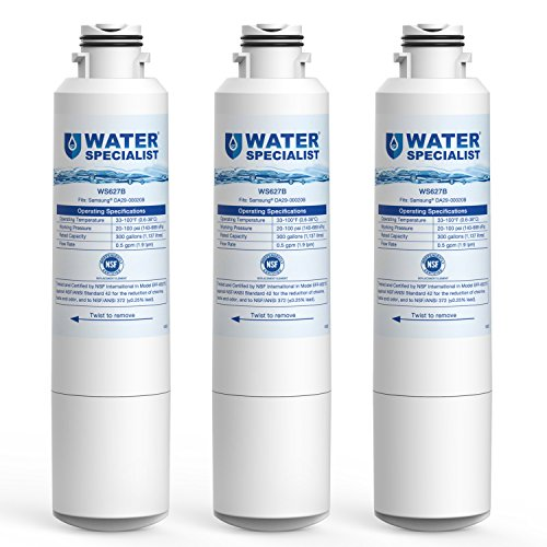 Waterspecialist Refrigerator Water Filter, Replacement for Samsung DA29-00020B, HAF-CIN, HAF-CIN/EXP, DA29-00020A/B, DA97-08006A, RF28HMEDBSR, RF4287HARS, RF263TEAESG, RH22H9010SR (Pack of 3)