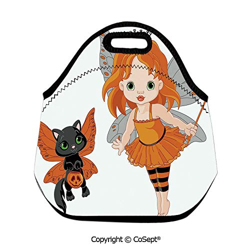 Insulated Lunch Tote,Halloween Baby Fairy and Her Cat in Costumes Butterflies Girls Kids Room Decor Decorative,Lunch Boxes Container Tote(11.81x6.29x11.02 inch) Multicolor -