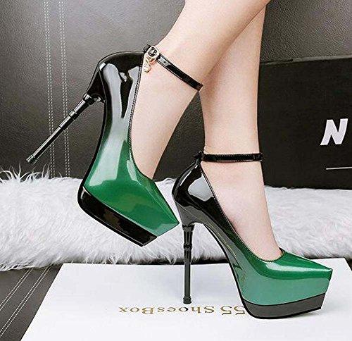 Hebilla vestido Gris Verde de de Heel Zapatos Green Club charol para Stiletto Tacones Azul mujer Rojo el Pointed Spring Shoes Toe p7UqF
