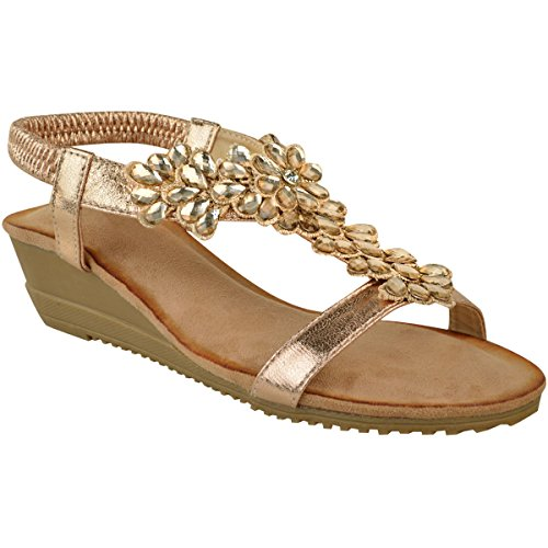 ns Ladies Low Wedge Heel Sandals Gem Party Wedding Shoes Elastic Size 5 ()