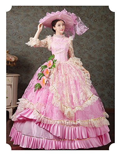 Zukzi Women's Ruffles Gothic Victorian Fancy Lolita Dress Costumes, Pink Size 8 by Zukzi (Image #4)