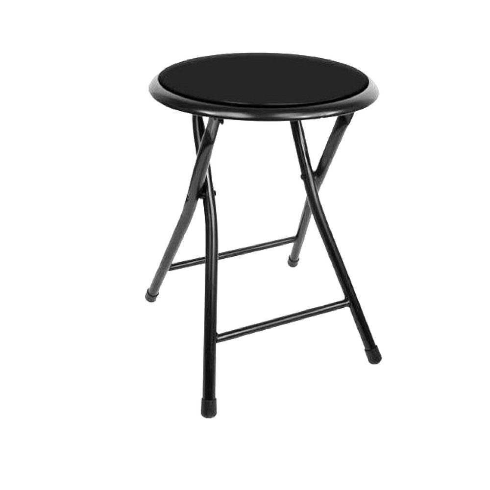 ghy Short Folding Stool Portable Small Lightweight Black Bar Counter Metal Padded Seat Kitchen Armless For Adults Sturdy Modern Indoor Outdoor Space Saving Compact Comfortable& eBook By JEFSHOP.