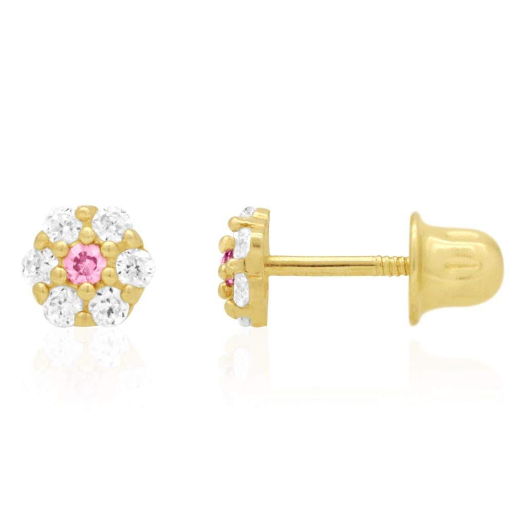 14k Yellow Gold Diamond And Pink Topaz Flower Screwback Stud Earrings 0 50ct Jewelry Earrings