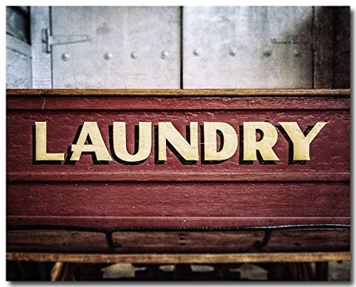 Vintage Red Laundry Wagon Washroom Decor Photograph