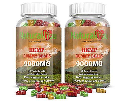 NaturallYou (2 Pack) 120 Premium Natural Hemp Gummies for Anxiety   9000mg Calm Hemp Gummies Packed with Omega 3-6-9   Multi Fruity Flavors Hemp Gummy Bears for Sleep   USA Made   Vegan, Gluten Free