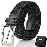 Elastic Braided Belt, Fairwin Enduring Stretch Woven Belt for Men/Women/Junior, Black, M ( for waist...