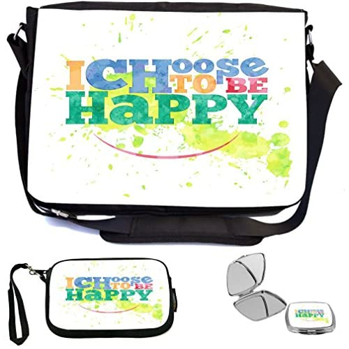 Rikki Knight I choose to be happy design Design COMBO Multifunction Messenger Laptop Bag - with padded insert for School or Work - includes Wristlet & Mirror