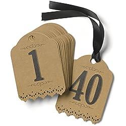 Hortense B. Hewitt Wedding Accessories Vintage Kraft Table Tags, Numbers 1 to 40