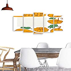 UHOO Five Pieces Wulian PaintingHand Drawn Vector Template for Cooking Book Lined Paper for Pumpkin Recipes .Living Room Office Decor Gift