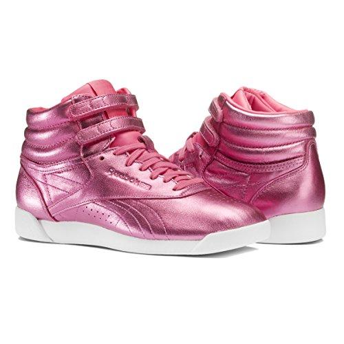 Reebok Freestyle Hi Metallic Women's Shoes Sharp Pink/White cn0960 (6.5 B(M) US)