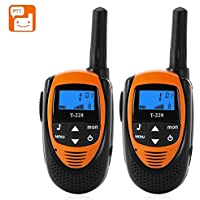 Walkie Talkies - BANGWEIER T-228 Walkie Talkies - 22 Channels, 99 Sub Codes, Backlit LCD Display, 4KM Range, Belt Clip (Orange)