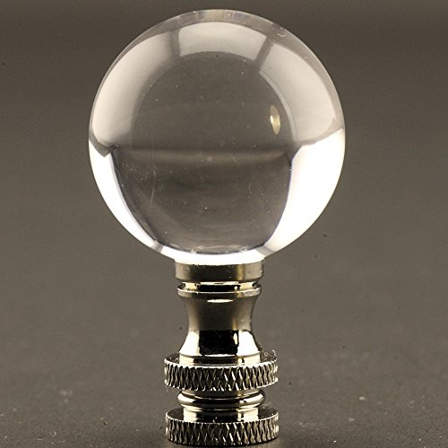 Polished 1.18 Inch (30MM) Acrylic Ball Lamp Finial with Choice of 2 Colors of Base, 2 Inches High (Silver)