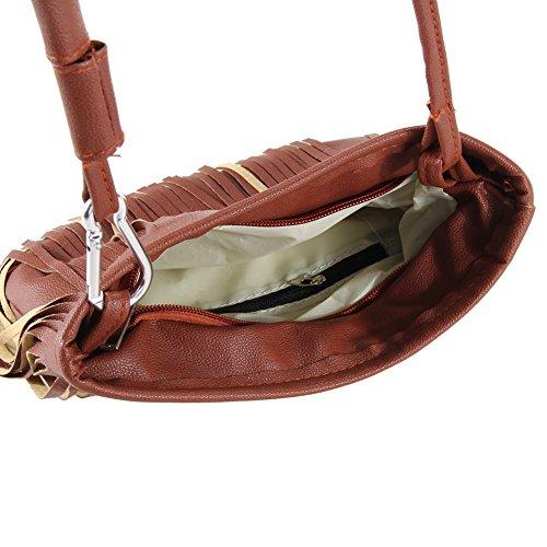 Fashion La Fringe épaule Fille Porté Tassel Main Brun Messenger à Femmes Bag Cabina Bandoulière Satchel Lady Sac Style Sac ffnq5vr
