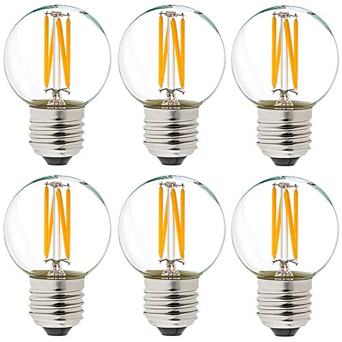 Dimmable g16.5 led Bulb 40W g16 1/2 led Edison Bulb 2700K 4W e26 led Globe Bulb for Ceiling Fan,Chandelier,Vanity Light Bulb AC120V 400lm 6Pack
